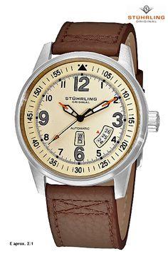 De la firma relojera #STÜHRLING, Relojes de hombre. Reloj caballero Stührling con correa marrón, movimiento automático.