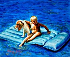 Minaz Jantz, 'Floating Buddies (Dustin & Dixie)' acrylic on canvas Art Gallery, Canvas, Pets, Outdoor Decor, Tela, Animals And Pets, Art Museum, Fine Art Gallery, Canvases