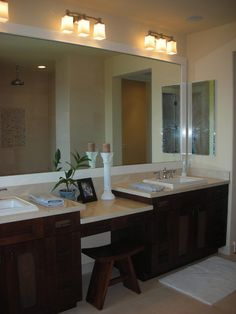 Bathroom Double Sinks w/ Makeup Counter. Like center counter idea w/chair ..only
