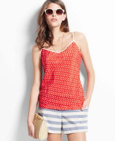 Love the print top and the color in red
