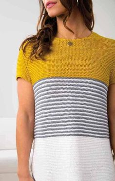 ideas crochet dress easy summer for 2019 Summer Knitting, Baby Knitting, Look Fashion, Diy Fashion, How To Purl Knit, Knitting Patterns Free, Crochet Clothes, Pulls, Knitting Projects