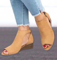 [£ Women's PU Wedge Heel Sandals Wedges Peep Toe With Others shoes - VeryVoga Mid Heel Sandals, Mid Heel Shoes, Peep Toe Shoes, Peep Toe Wedges, Shoes Sandals, Wedge Shoes, Women Sandals, Peeptoe Heels, Ladies Sandals