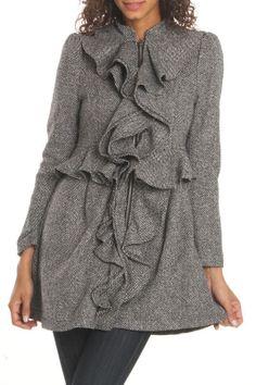 Pretty Ruffle Jacket In Gray.