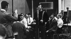 Terry Venables on the mic as the team record their 1967 FA Cup Final record at EMI - May, 1967