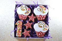 Dog Birthday Cupcake Gift Set with Age