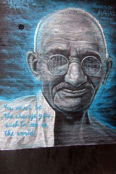 Gandhi - Street Art by Gnasher - Essex Road, London
