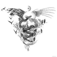 Lindworm by Aerin-Kayne on DeviantArt Dope Tattoos, Unique Tattoos, Leg Tattoos, Body Art Tattoos, Small Tattoos, Sleeve Tattoos, Tatoos, Dragon Tattoo For Women, Dragon Tattoo Designs