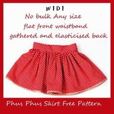 Free gathered skirt tutorial pattern - flat half front waistband back elastic