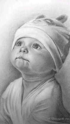 Easy Pencil Drawings, Face Pencil Drawing, Pencil Drawing Tutorials, Realistic Drawings, Art Drawings Sketches, Baby Face Drawing, Drawing Drawing, Cute Baby Drawings, Marker Drawings