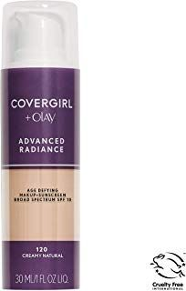 COVERGIRL Advanced Radiance Age Defying Foundation Makeup, Creamy Natural 1 Ounce (Packaging May Vary) Liquid Foundation Base No Foundation Makeup, Liquid Foundation, Powder Foundation, Vegan Makeup, Organic Makeup, Olay, Covergirl, Drink Bottles, Concealer