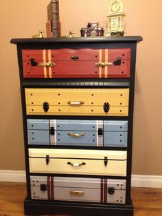 Chest of drawers painted faux suitcase fronts; looks real; Upcycle, Recycle, Salvage, diy, thrift, flea, repurpose, refashion! For vintage ideas and goods shop at Estate ReSale & ReDesign, Bonita Springs, FL