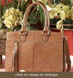 Concealed Carry Purse - Ostrich Print Leather Computer Bag | GunHandbags.com