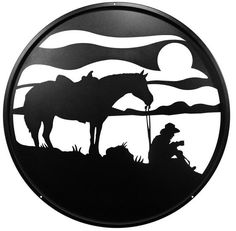 Hand Made Coffee Break Horse Cowboy Scenic Art Wall Design *NEW* Metal Wall Art Decor, Metal Art, Wall Decor, Broken Horses, Laser Art, Horse Silhouette, Wood Burning Patterns, Cowboy Art, Scroll Saw Patterns