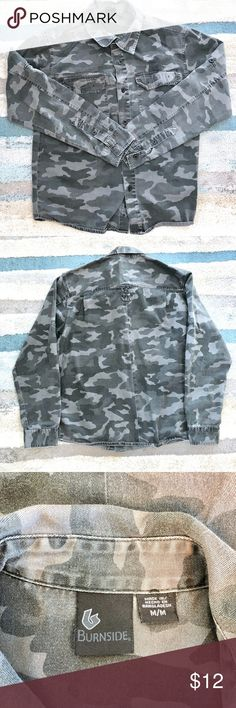 Burnside Mens Camouflage Button Down Shirt Size M Up for sale in good preowned condition Burnside Mens Camouflage Button Down Shirt Size M. Check out my closet, bundle and give me your offer! Burnside Shirts Casual Button Down Shirts