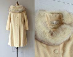 Capa de Lilli Ann | Vintage años 1960 fox cuello del abrigo | abrigo de cuello de piel de lana crema 50s