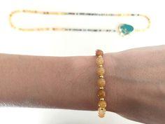 Quiero compartir lo último que he añadido a mi tienda de #etsy: Collar y pulsera de Jade amarillo y Ágata india con piedra natural con sedimentos marinos (color turquesa)