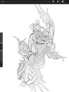 Koy Fish Tattoo, Snake Tattoo, Cover Up Tattoos, Body Art Tattoos, New Tattoos, Dragon Tattoo Sketch, Tattoo Sketches, Japanese Phoenix Tattoo, Phoenix Drawing