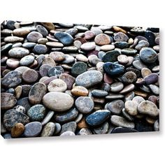 ArtWall Elena Ray River Stones Gallery-wrapped Canvas, Size: 12 x 18, Black