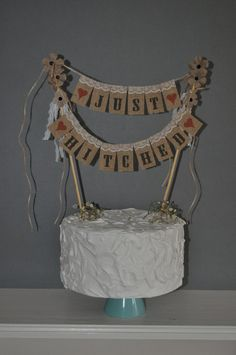 Just Hitched Wedding Cake Topper Mini Bunting by inspiredcompany4u