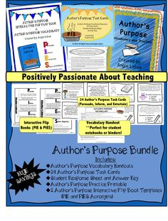 Author's Purpose Bundle - Almost 20% SAVINGS! This bundle includes a vocabulary handout resource (perfect for student notebooks), 24 Task Cards, Student Response Sheet, Answer Keys, Author's Purpose Practice, and 2 Interactive Flip Books (PIE for lower grades and PIES for upper grades) #taskcards #authorspurpose www.facebook.com/positivelypassionateaboutteaching