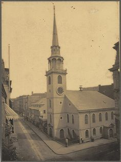he Old South Meeting House is also known as the Old South Church, and is located on Washington Street at the corner of Milk Street. Location: Boston Public Library, Print Department Approx 1898 Sam Adams addressed patriots here prior to Boston Tea Party