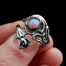 STERLING SILVER Ring With Pink Opal, Vintage Opal Ring, Floral Spoon Ring