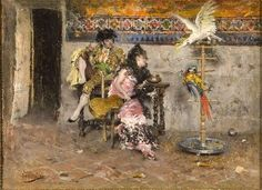 Couple in Spanish dress with two parrots