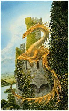 Smaug over Torreon - John Howe Fantasy Dragon, Dragon Art, Dragon Garden, Fantasy World, Fantasy Art, John Howe, Dragons, Dragon Dreaming, Dragon's Lair