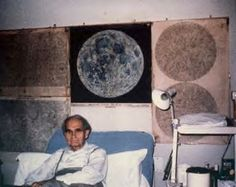 Rudolph Hess in Spandau - he was fascinated by the moon and his walls were covered with maps and photos