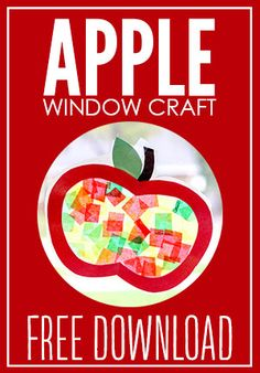 Apple Stained Glass Window Decorations + Free Template - New Deko Sites Alphabet Letter Crafts, Alphabet For Kids, Apple Activities, Fun Fall Activities, Fall Preschool, Preschool Crafts, Kindergarten Art Projects, Kindergarten Classroom, Apple Template