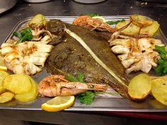 #Rombo al forno, con patate, #Calamari, e #Mazzancolle