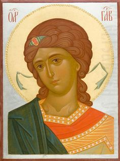 This icon of the Holy Archangel Gabriel is handpainted on a gessoed wooden board using egg tempera paints. A real masterpiece from the icon painting studio of St Elisabeth Convent! Byzantine Icons, Byzantine Art, Religious Icons, Religious Art, Saint Gabriel, Paint Icon, Russian Icons, Painting Studio, Virgin Mary