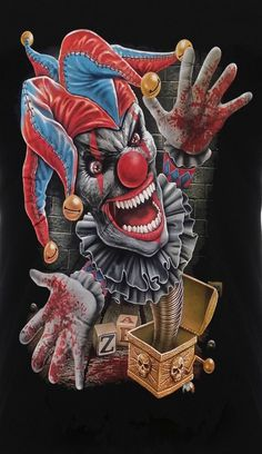 evil jack in the box Scary Clown Face, Gruseliger Clown, Joker Clown, Clown Faces, Joker Art, Wicked Jester, Evil Jester, Evil Clowns, Scary Clowns