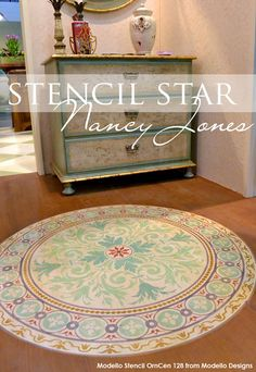 Stencil a wood floor for a stenciled faux rug with Ornamental Center Stencil from Modello Designs Painted Rug, Painted Floors, Painted Furniture, Bar Design, Design Studio, Floor Design, Porch Flooring, Diy Flooring, Floor Art