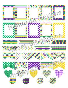 Erin Condren Planner Mardi Gras Flags Stickers by HunnyBitDesigns
