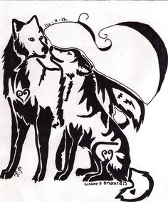 Only the best free Wolf Couple Tattoos tattoo's you can find online! Wolf Couple Tattoos tattoo's to print off and take to your tattoo artist. Elephant Tattoos, Wolf Tattoos, Two Wolves Tattoo, Dream Catcher Drawing, Dream Catchers, Tattoo Font For Men, Geometric Trees, Deviantart Tattoo, Rose Sketch