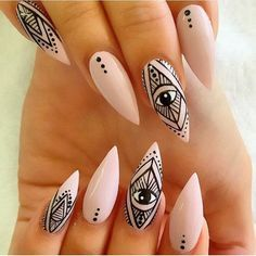 All Seeing Eye Stiletto Nail Design