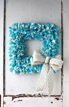 Spring Turquoise/Off-White Fleece Rag Wreath Spring Door Easter Square Wreath Easter Wreath for Door Modern Shabby Home Decor Nursery Wreath by TheTangledTreehouse on Etsy