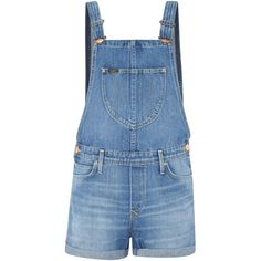 Lee Bib front dungarees short in spring journey ($78) ❤ liked on Polyvore featuring jumpsuits, rompers, overalls, dungarees, shorts, playsuits, romper, medium denim, sale and short bib overalls