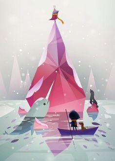 [ILLU] Ce magnifique iceberg rose par Joey Chou ! Avec un joli pioupiou on top !