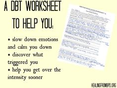 HealingFromBPD.org - Borderline Personality Disorder Blog: Emotion Regulation Worksheet 1a: Intense Anxiety Episode