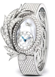 white gold watch set with round TW/IF-VVS diamonds (approx. silvered gold dial with natural mother-of-pearl overl. High Jewelry, Luxury Jewelry, Jewellery Box, Stylish Watches For Girls, Cartier Watches Women, Gold Diamond Watches, Swiss Luxury Watches, Amazing Watches, White Gold Diamonds