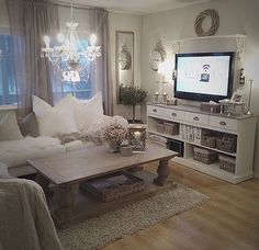awesome nice Cozy living room. Romantic. Rustic chic. White, cream creme, grey....... by http://www.best99homedecorpics.us/romantic-home-decor/nice-cozy-living-room-romantic-rustic-chic-white-cream-creme-grey/