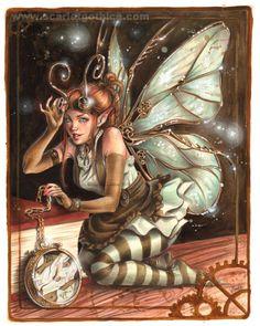 A Clockwork Faerie. I hope she can fix it! #faerie #clockwork #steampunk