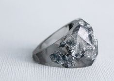 eco resin multifaceted translucent grey ring by RosellaResin (via @Jessica Goldfond)