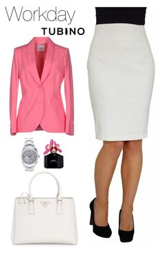 Work day With Pencil Skirt Ivory White by tubino-skirts-dresses on Polyvore featuring mode, Moschino Cheap & Chic, Prada, Rolex and Marc Jacobs