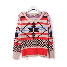 Multi color striped long sleeve knit top ($31) ❤ liked on Polyvore