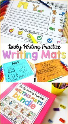 Writing Mats provide daily writing practice for the whole year with a variety of writing prompts and picture word lists. Use for independent writing, journal writing, writer's workshop, writing centers, and small group instruction. #kidwriting #teachingwriting #writersworkshop #writingcenter #firstgrade