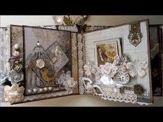 Nature Garden - romantic vintage mini album part 2 Mini Albums, Mini Scrapbook Albums, Altered Books, Altered Art, Mini Album Tutorial, Box Patterns, Album Book, Heartfelt Creations, Graphic 45