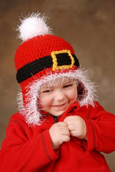 Santa Beanie with Earflaps Kids Crochet Hat by PlayinHookyDesigns ~ NO PATTERN